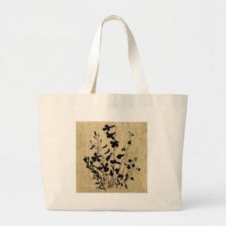 Wildflower Silhouette Burlap Tote Bags