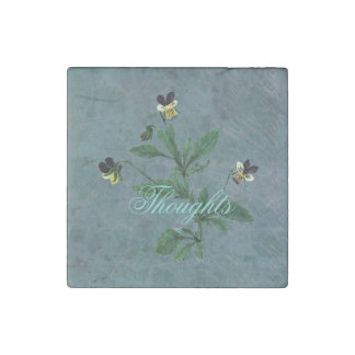 Wildflower Viola Thoughts Stone Magnet