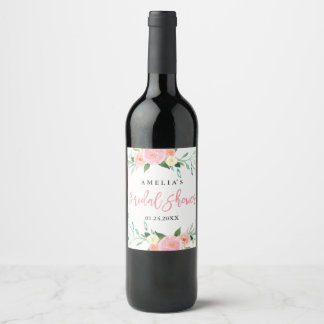 Wildflower Watercolor Bridal Shower Wine Label