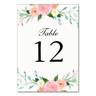 Wildflower Watercolor Wedding Table Cards
