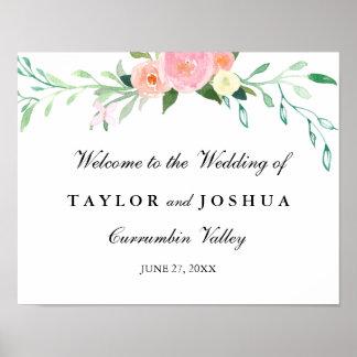 Wildflower Watercolor Welcome Wedding Sign