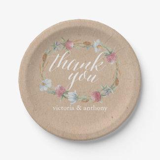 Wildflower Wreath On Kraft Country Wedding 7 Inch Paper Plate
