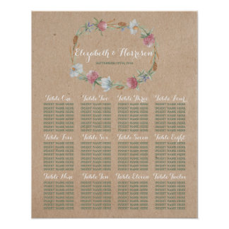 Wildflower Wreath On Kraft Country Wedding Seating Poster