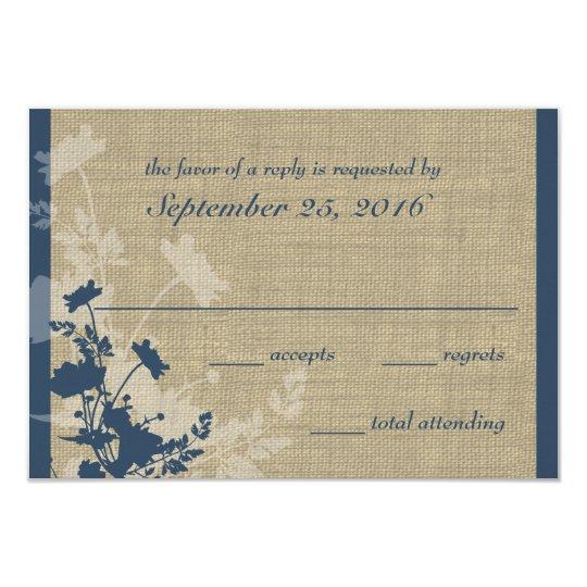 Wildflowers and Burlap Wedding Response Card
