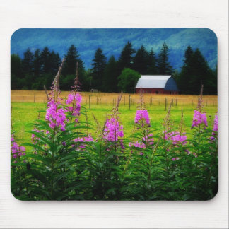 Wildflowers and Country Barn Mousepad