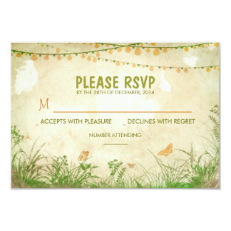 wildflowers and string lights wedding RSVP cards 9 Cm X 13 Cm Invitation Card