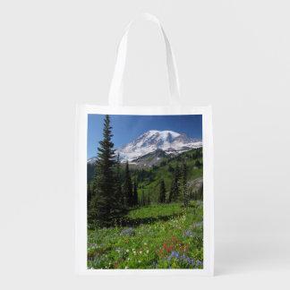 Wildflowers at Mount Rainier Reusable Grocery Bag