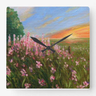 """Wildflowers at twilight"" fine art clock"