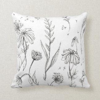 Wildflowers Black & White Cushion