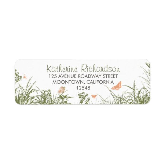 wildflowers grass cute return address labels