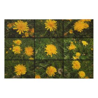 Wildflowers in yellow wood prints
