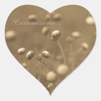 Wildflowers - Monochrome Heart Sticker
