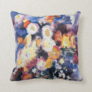 Wildflowers, pastel watercolor painting cushion