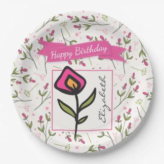Wildflowers - Pink and Orange Petals Birthday Paper Plate