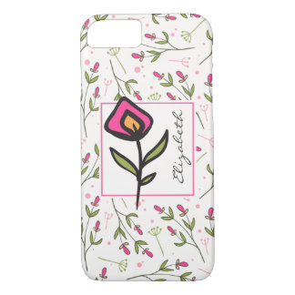 Wildflowers - Pink and Orange Petals Personalized iPhone 8/7 Case