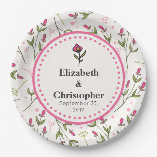 Wildflowers - Pink and Orange Petals Wedding Paper Plate