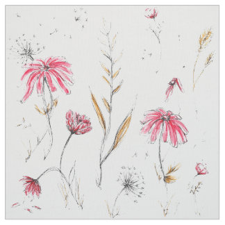 Wildflowers Pink & Mustard Fabric