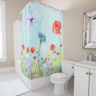 wildflowers poppy meadow butterfly watercolor blue shower curtain