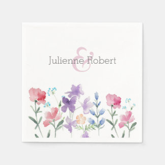 Wildflowers Watercolor Wedding Paper Napkins