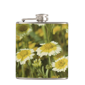 Wildflowers Yellow and White Sunflowers Hip Flask