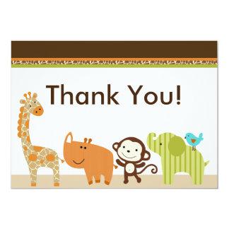 Wildlife Animals Jungle Thank You Card 13 Cm X 18 Cm Invitation Card
