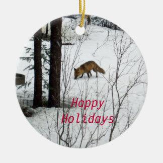 Wildlife Christmas Fox Round Ceramic Decoration