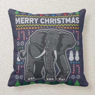 Wildlife Elephant Merry Christmas Ugly Sweater Cushion
