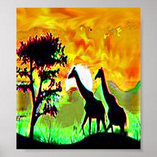 wildlife giraff pair african safari jungle poster