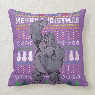 Wildlife Gorilla Merry Christmas Ugly Sweater Cushion