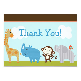 Wildlife Jungle Animals Baby Shower Thank You Card
