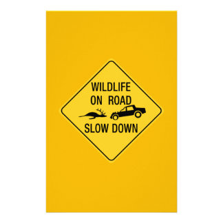 Wildlife On Road, Traffic Warning Sign, USA Personalized Stationery