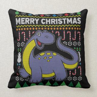 Wildlife Purple Dino Merry Christmas Ugly Sweater Cushion