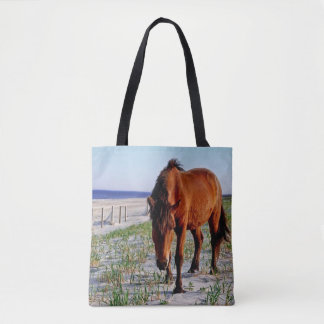 Wildlife tote, wild horses, Assateague Island Tote Bag