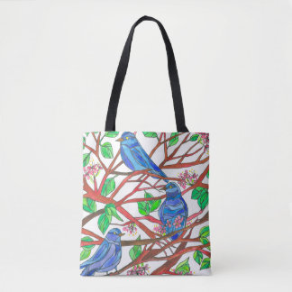 Wildlife Watercolor Bluebirds In A Tree Tote Bag