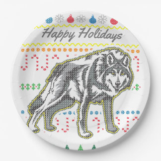 Wildlife Wolf Merry Christmas Ugly Sweater Paper Plate