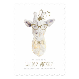Wildly Merry Giraffe Holiday Photo Card