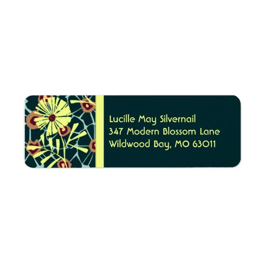 Wildwood Bay in Dark Teal and Bright Yellow Return Address Label
