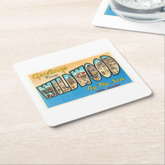 Wildwood by the Sea New Jersey NJ Vintage Postcard Square Paper Coaster
