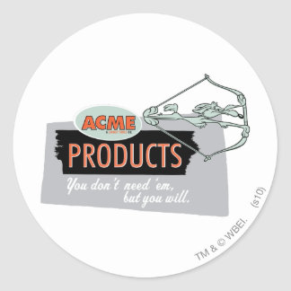 Wile E Coyote Acme Products 9 Round Sticker