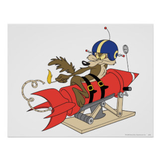 Wile E Coyote Launching Red Rocket Poster