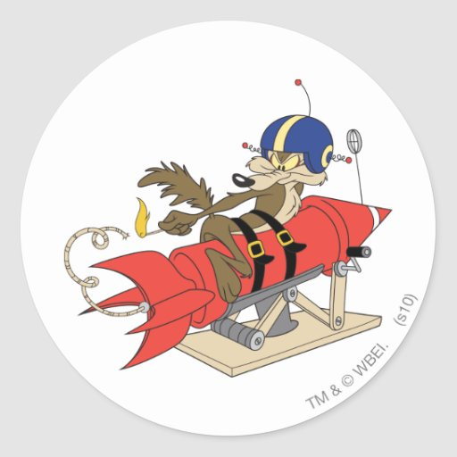 Wile E. Coyote Launching Red Rocket Round Stickers
