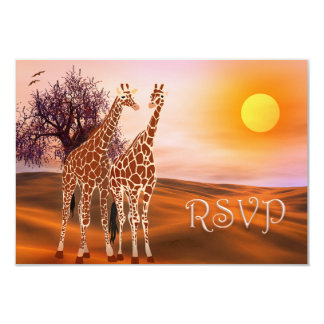 Wilflife Giraffe Zoo Theme RSVP Card 9 Cm X 13 Cm Invitation Card