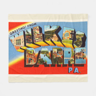 Wilkes Barre Pennsylvania PA Old Travel Souvenir Fleece Blanket