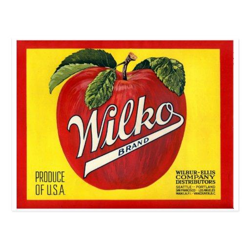 Wilko Brand Apples Vintage Label Postcards