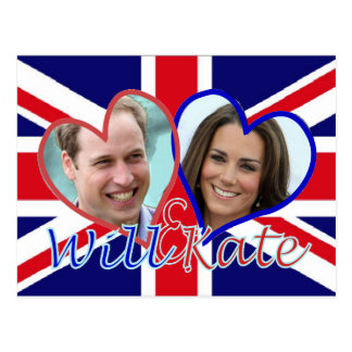 Will and Kate UK flag hearts Postcard