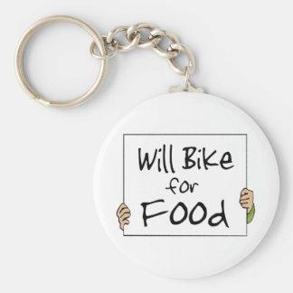 Will Bike for Food Key Chain