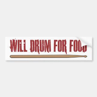 Will Drum For Food Drummer Bumper Sticker