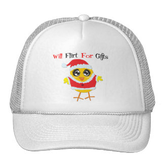 Will Flirt For Gifts - Cute Santa Chick Mesh Hat