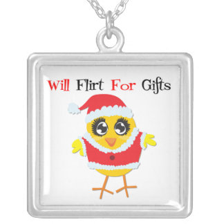 Will Flirt For Gifts Santa Chick Square Pendant Necklace