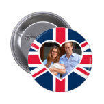 Will, Kate, Prince George - British Flag Pinback Button